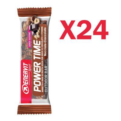 Enervit Sport Power Time Outdoor Bar Nocciola-Cioccolato, box 24 barrette energetiche da 30 grammi, senza glutine