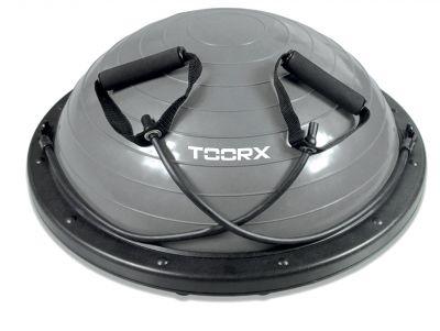 Palla Bosu Pro Ø 58 cm con elastici e pompa inclusa, colore grigio-nero, antiscoppio - Anche per uso professionale