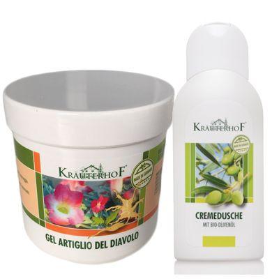 KIT OFFERTA con 5 Barattoli di Crema Gel all'ARTIGLIO DEL DIAVOLO da 250ml + Crema Doccia con Olio d'oliva 250ml OMAGGIO