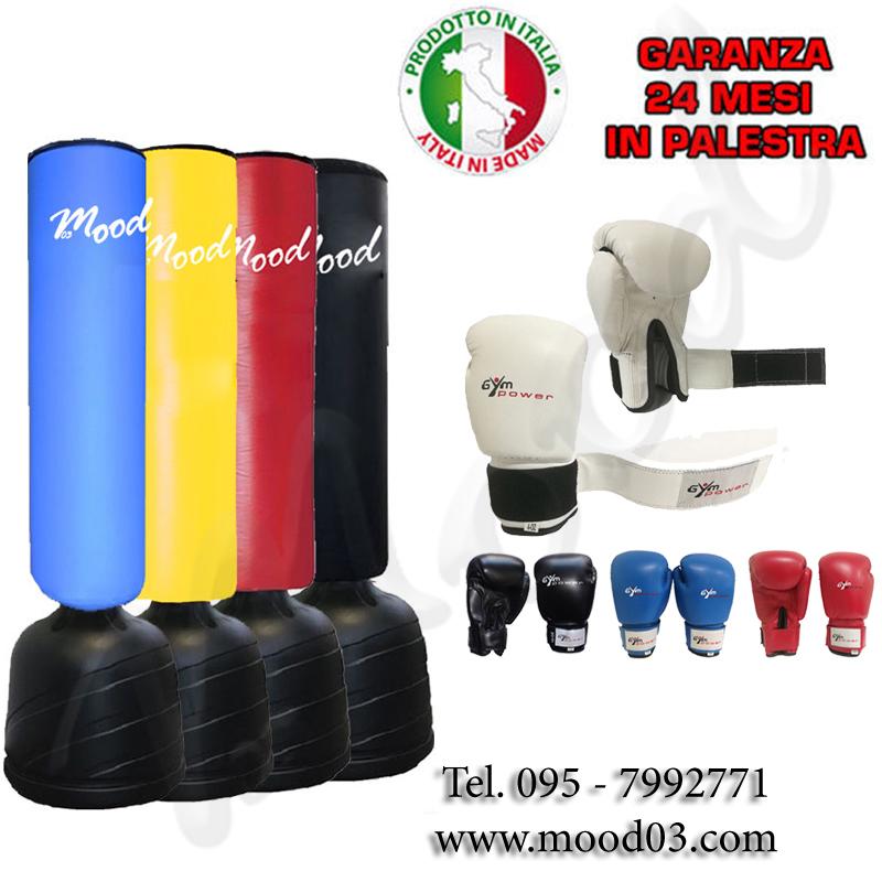 SACCO FITBOXE ALTEZZA REGOLABILE MAX 215cm BASE ANTISCIVOLO Cappuccio 110x40cm + UN PAIO DI GUANTONI BOXE PUGILATO