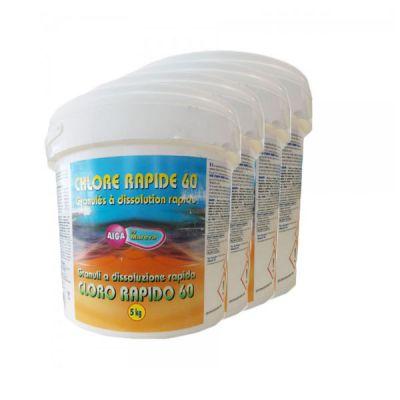 CHLORE RAPIDE Secchio da 20kg - Dicloro Granulare a Rapida Dissoluzione per Trattamenti Shock ad elevata azione clorante