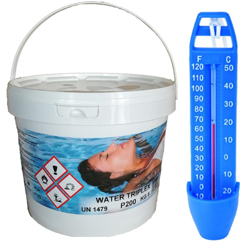 WATER TRIPLEX Secchio 5 kg Pastiglie Cloro Multifunzioni per Piscina (Azione Clorante, Flocculante, Alghicida) + Omaggio