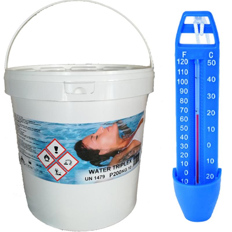 WATER TRIPLEX Secchio 10 kg - Pastiglie Multiazione per Piscina (Clorante, Flocculante, Antialghe) + Termometro Omaggio