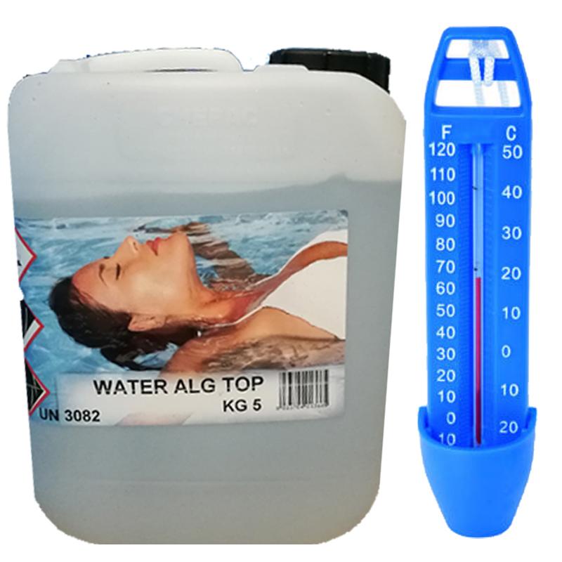 WATER ALG TOP Tanica da 5 kg - Antialghe Concentrato NO SCHIUMOGENO per Vasche Idromassaggio, SPA, Fontane e Piscine