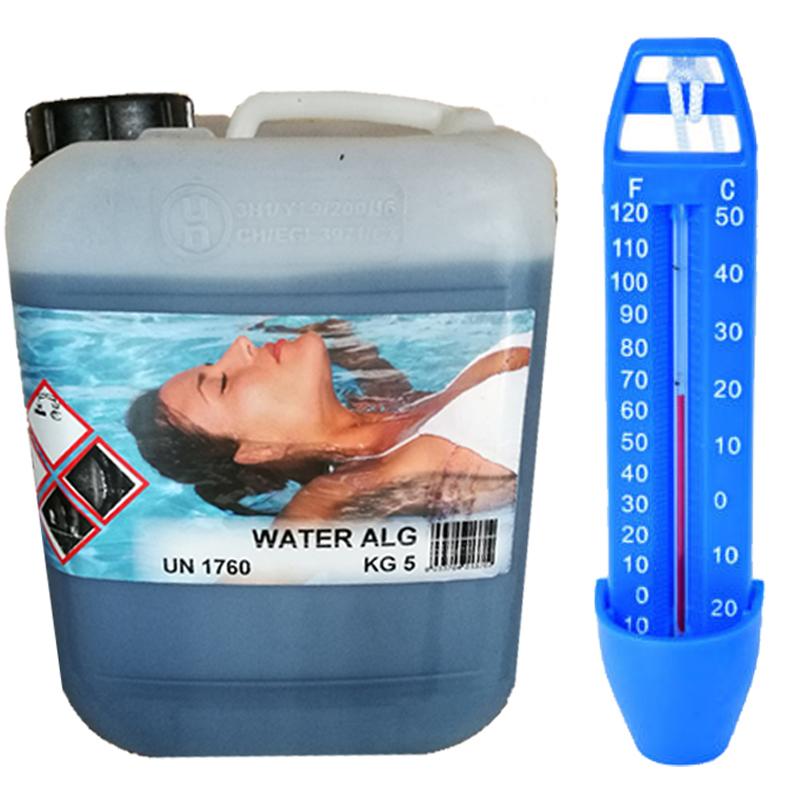 WATER ALG Tanica 5 kg - Antialghe Liquido Professionale per Piscina NO SCHIUMOGENO + Termometro in Omaggio