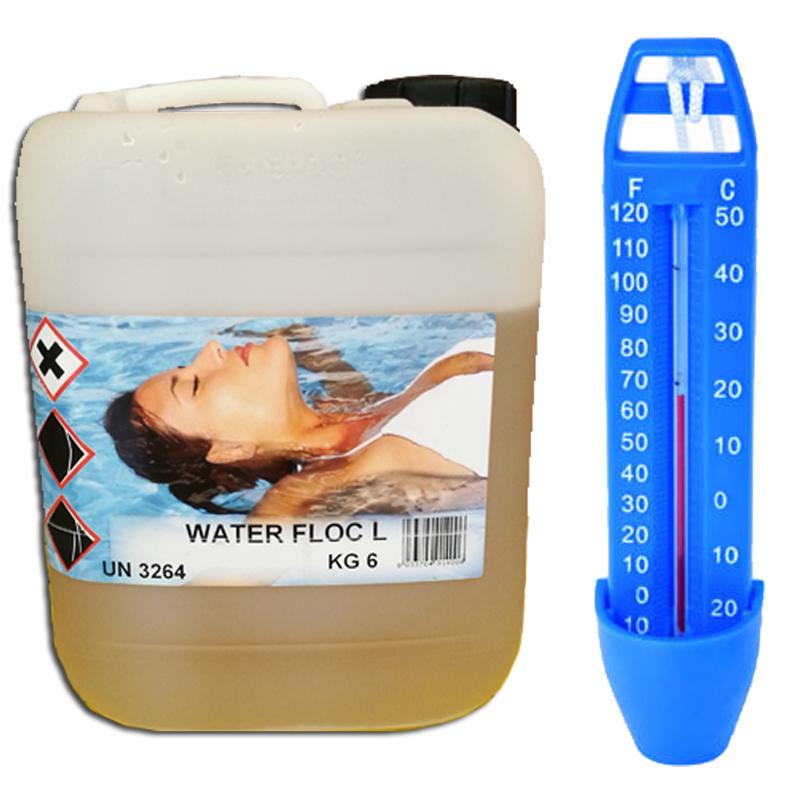 WATER FLOC Tanica 6 kg - Flocculante Liquido per piscina ad azione schiarente per acqua limpida + Termometro Omaggio