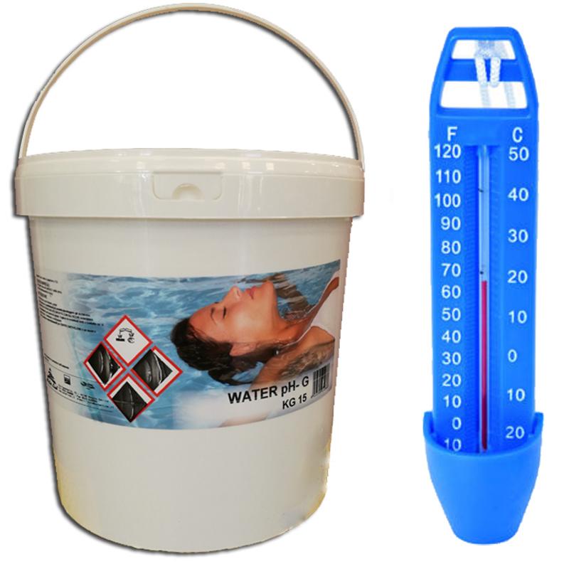 WATER PH- 15 KG - Correttore Granulare per la Riduzione del pH in piscina + Termometro Analogico Omaggio