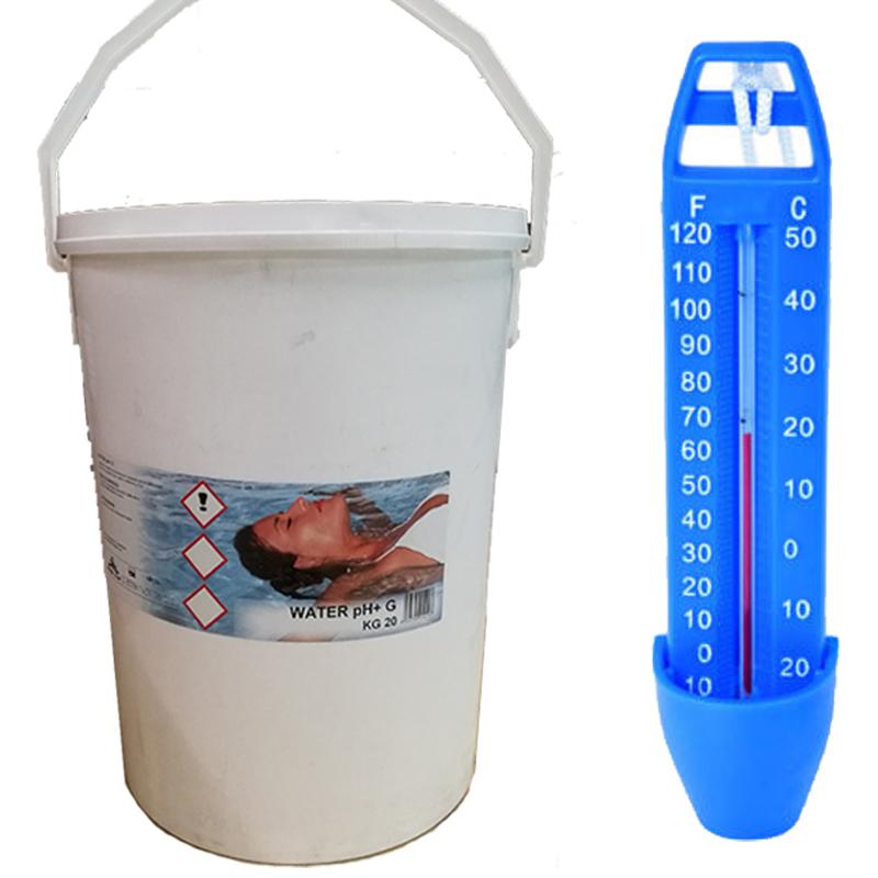 WATER PH+ 20 KG - Sale Alcalino per aumentare il valore di pH in Piscina + Termometro Omaggio
