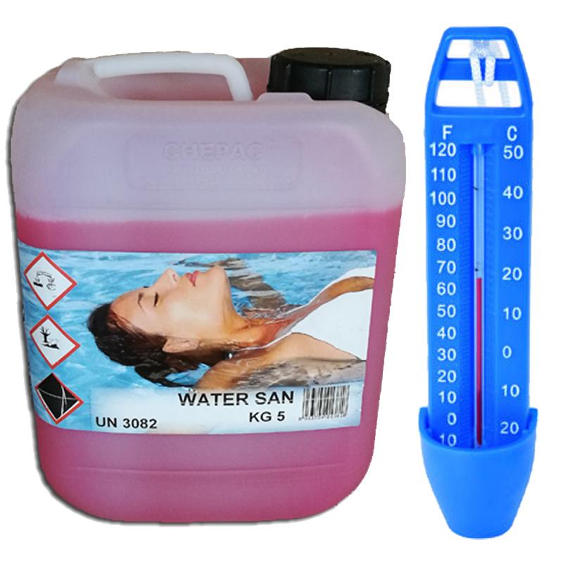 WATER SAN Tanica 5 kg - Detergente Igienizzante Antimicotico per pulizia superfici circostanti la piscina + Termometro