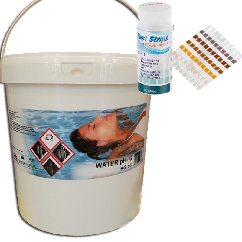 WATER PH- Secchio 15 kg - Correttore granulare per abbattere il ph della piscina + TEST PISCINA PH E CLORO IN STRIPS
