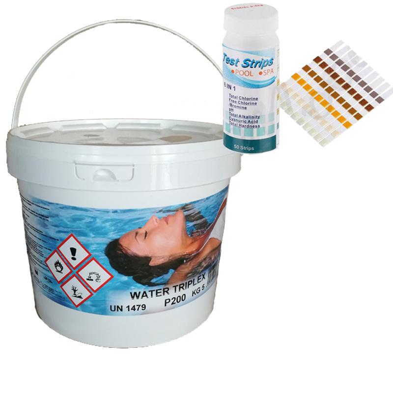 WATER TRIPLEX Secchio 5 kg - Multifunzioni 3 in 1 Pastiglie da 200 grammi per piscina + Test Analisi per ph e cloro