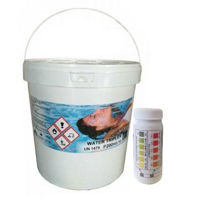 WATER TRIPLEX Secchio 10 kg - Pastiglie Multifunzioni Piscina 3 azioni in 1 + Test Analisi per ph e cloro in piscina