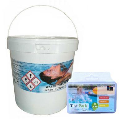 WATER TRIPLEX Secchio 10 kg - Pastiglie Piscina Triplice Azione Flocculante Antialghe Clorante + Test Pastiglie Cloro pH