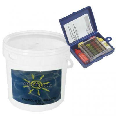 CLORO 90% Secchio 5kg di Tricloro in Pastiglie da 200 grammi blisterate a lenta dissoluzione + Tester Analisi ph Cloro