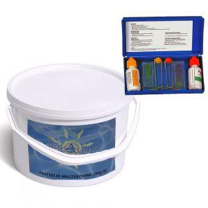 Triplex Secchio 5 kg Pastiglie Multifunzione Azione Clorante Flocculante Antialghe + Test Kit Analisi pH e cloro