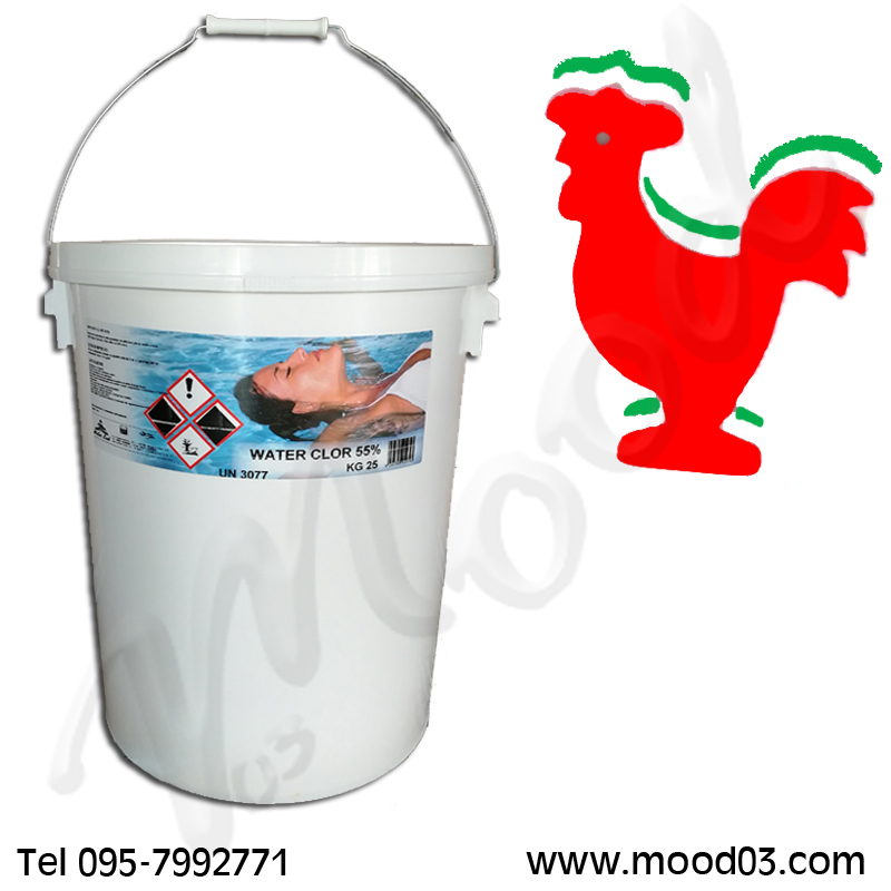 WATER CLOR 55% Secchio da 25 kg Dicloro Granulare Cloro Shock 56% in polvere + ANIMALE GALLEGGIANTE IN FOAM