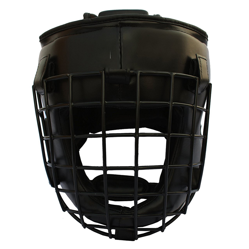 METAL HEAD GUARDS TAGLIA S/M - Caschetto di Protezione Imbottito in Pelle con Griglia in Metallo Estraibile
