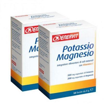 POTASSIO MAGNESIO PROMO PACK ENERVIT 20 Buste da 8 grammi - Integratore Alimentare a base di sali minerali e Vitamina C