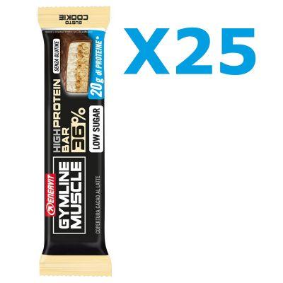Enervit Gymline High Protein Bar 36% Cookie Senza Glutine - Conf 25 barrette proteiche da 55 grammi