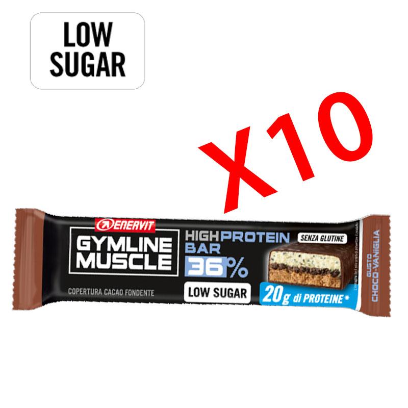 Enervit Gymline High Protein Bar 36% Choco-Vaniglia Senza Glutine - Conf 10 Barrette proteiche da 55 grammi