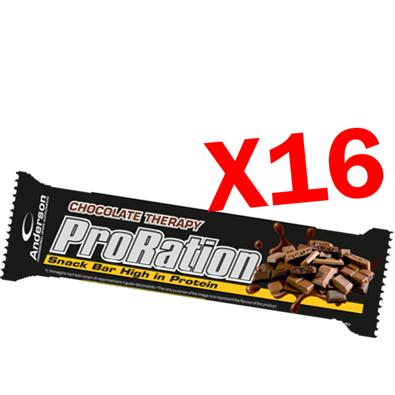 PRORATION ANDERSON BOX CON 16 SNACK DA 45 GRAMMI GUSTO CIOCCOLATO - Deliziosa Barretta ad alto contenuto proteico