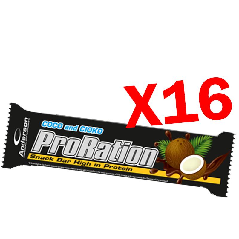 PRORATION ANDERSON BOX CON 16 SNACK DA 45 GRAMMI GUSTO COCCO - Deliziosa Barretta ad alto contenuto proteico