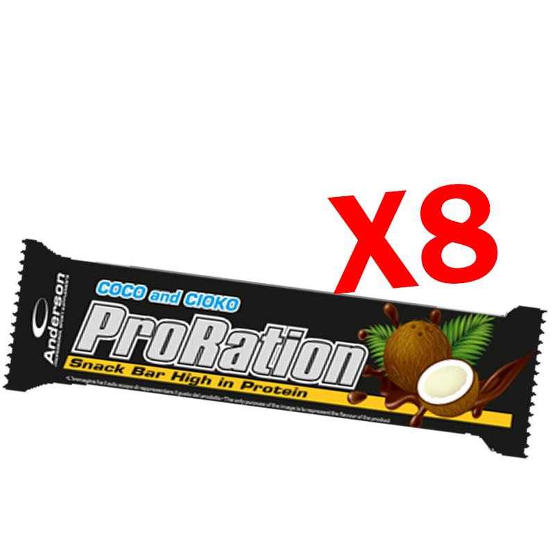 PRORATION ANDERSON 8 SNACK DA 45 GRAMMI GUSTO COCCO - Deliziosa Barretta ad alto contenuto proteico