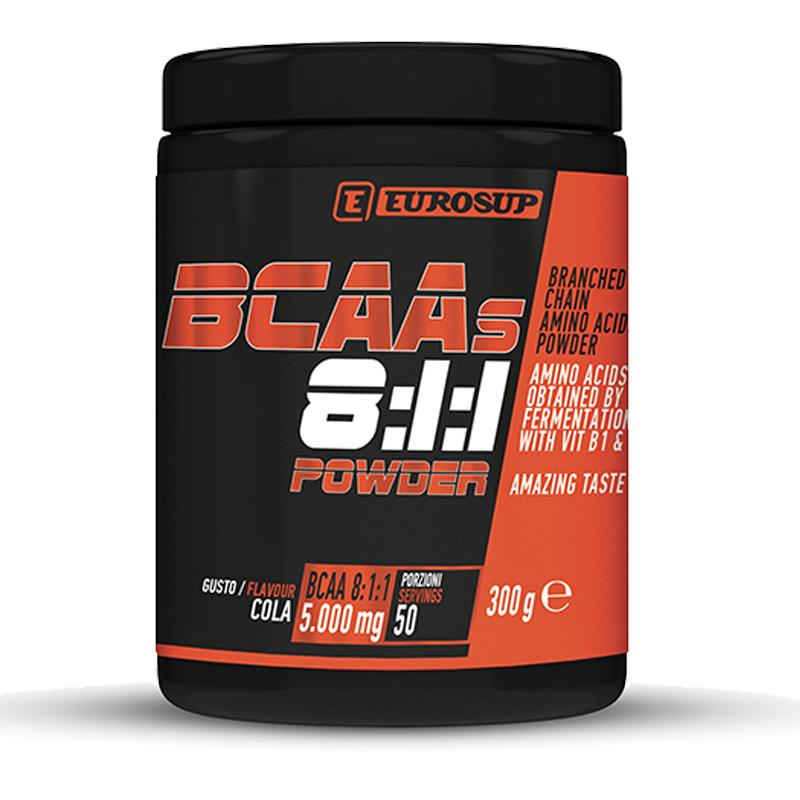 BCAAS 8:1:1 POWDER EUROSUP 300 GRAMMI GUSTO COLA - Aminoacidi Ramificati BCAA con Vitamine B1 e B6