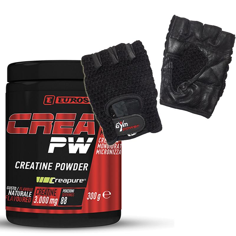 CREA PW 300 GRAMMI EUROSUP PROMO PACK - Creatina Powder Creapure Quality in Polvere + Guantini Palestra