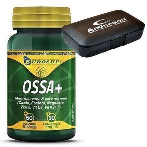 Ossa+ Eurosup Promo Pack 60 Compresse - Calcio Magnesio e Vitamine per il Mantenimento delle Ossa + Portapillolle Regalo