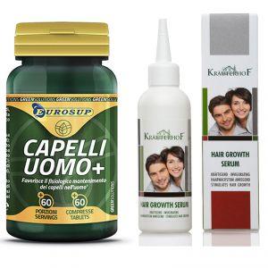 Kit Offerta Capelli Uomo+ 60 Compresse Eurosup + Siero della Ricrescita 100 ml Krauterhof Formula Brevettata