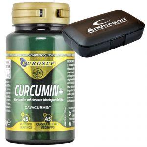 CURCUMIN+ CAVACURMIN 45 Capsule Vegetali - Integratore di Curcumina al elevata biodisponibilità + Portapillole Omaggio