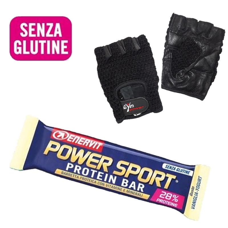 Enervit Power Sport Protein Bar 10 Barrette Proteiche Gluten Free da 40 g gusto VANIGLIA YOGURT + Guanti Palestra Regalo