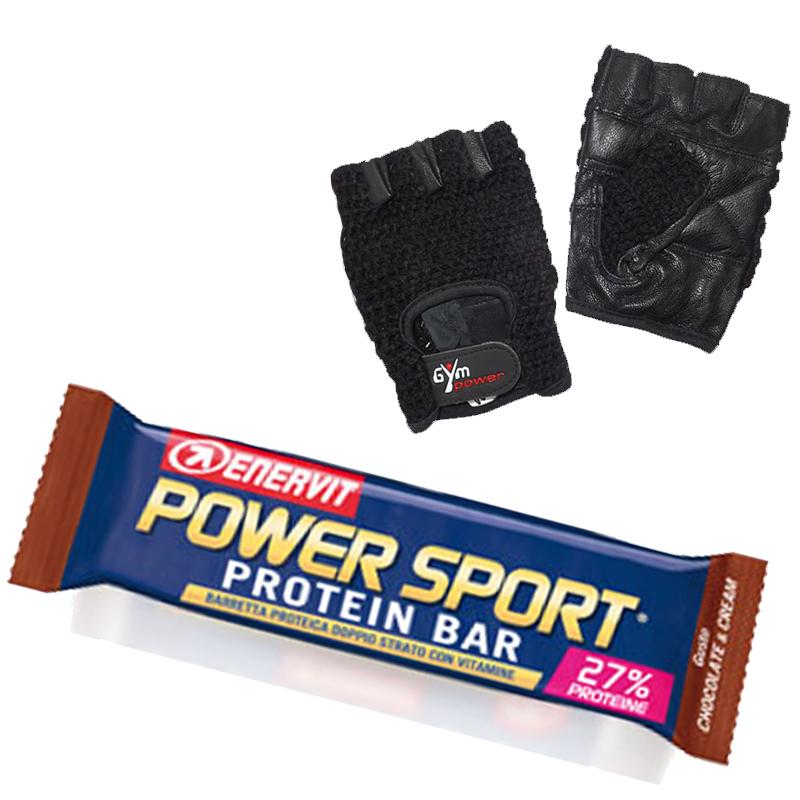 Enervit Power Sport Protein Bar 10 Barrette Proteiche Gluten Free da 40 g gusto CHOCO CREAM + Guanti Palestra Regalo