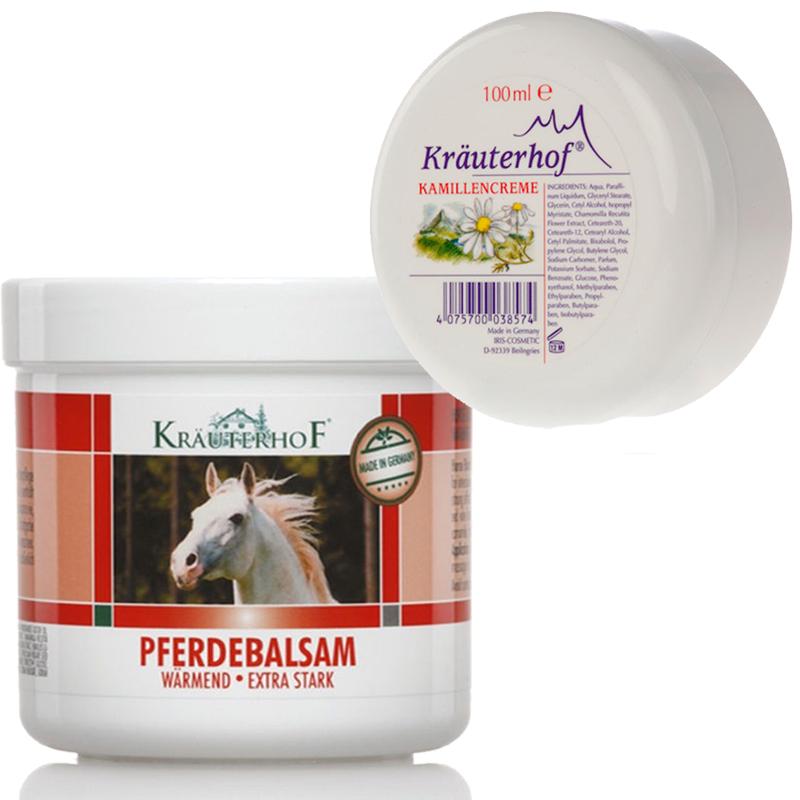 Kit Krauterhof con Balsamo Cavallo Riscaldante Extraforte 500 ml + Crema Mani Corpo Idratante alla Camomilla 100 ml