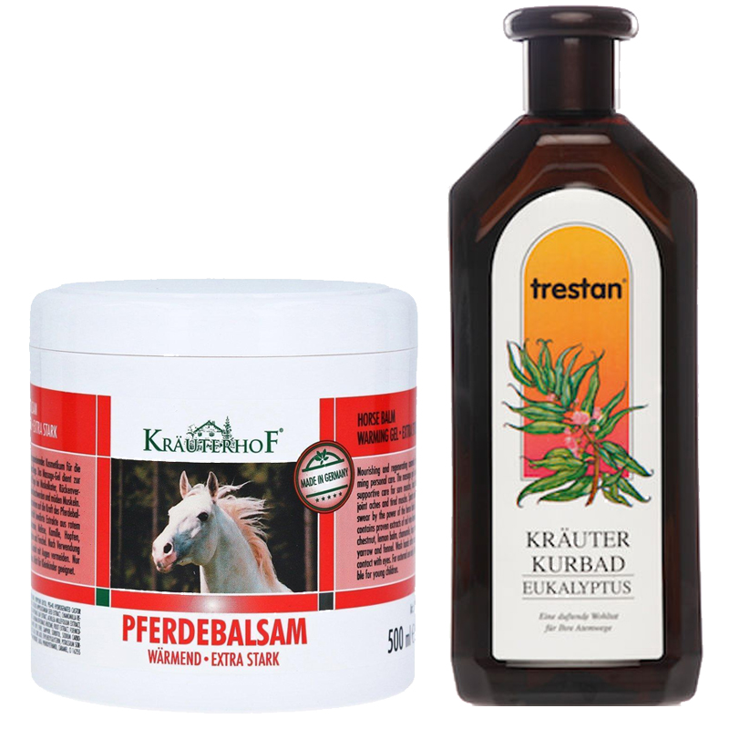 WINTER PROMO PACK KRAUTERHOF Balsamo Cavallo Scaldante Extraforte 500 ml + Bagno Schiuma Terapeutico all'Eucalipto 500ml