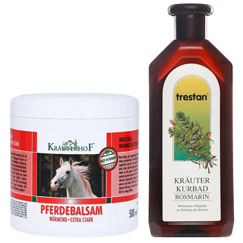 WINTER PROMO PACK KRAUTERHOF Balsamo Cavallo Scaldante Extraforte 500 ml + Bagno Schiuma Terapeutico al Rosmarino 500 ml