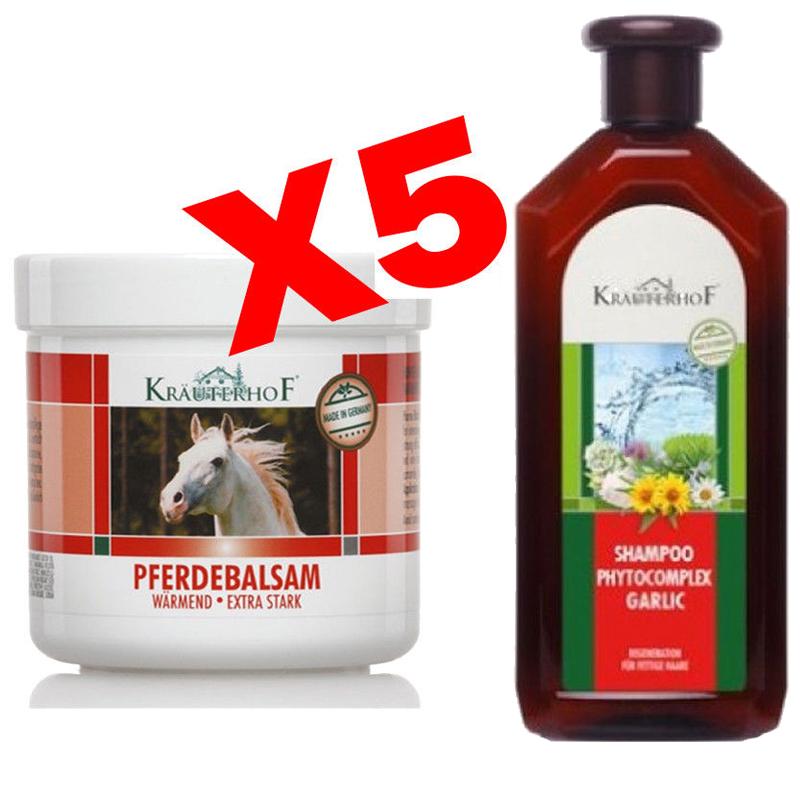 PROMO PACK Set 5 Barattoli da 250 ml di Balsamo Cavallo Scaldante Extraforte + Shampoo con Pantenolo e Aglio 500 ml