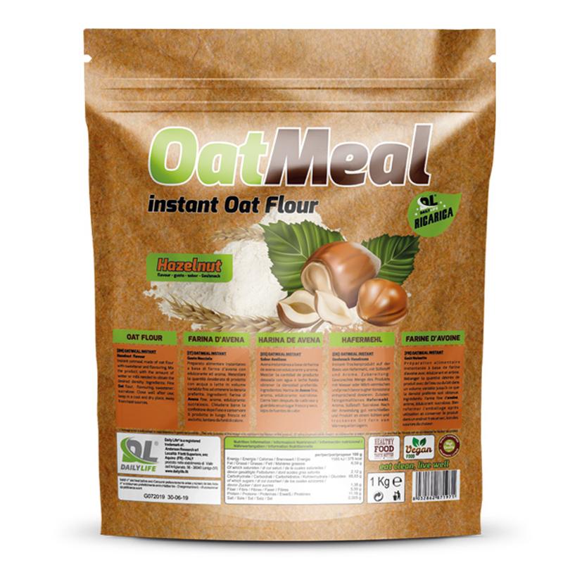 OATMEAL INSTANT DAILY LIFE Busta 1000 grammi gusto Nocciola - Farina D'Avena Aromatizzata ricco in Proteine e Fibre