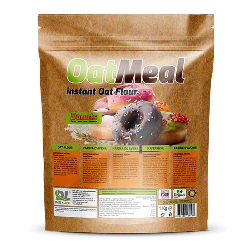 OATMEAL INSTANT DAILY LIFE Busta 1000 grammi gusto Donuts - Farina D'Avena Aromatizzata ricco in Proteine e Fibre