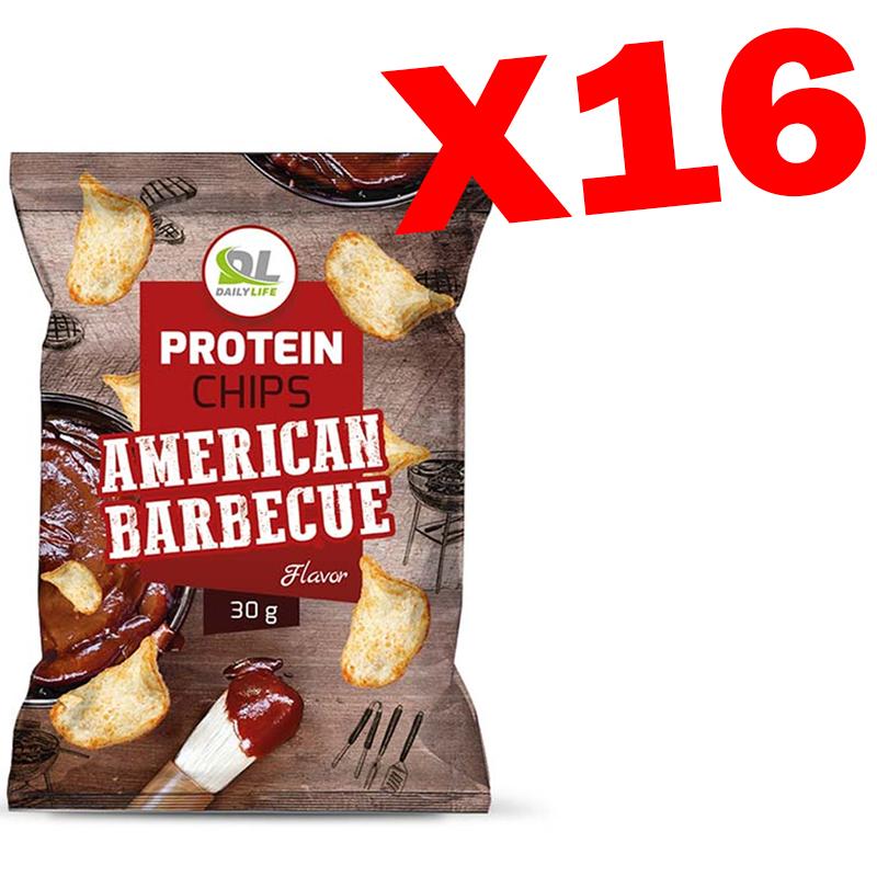 Protein Chips Daily Life American Barbecue 16 Buste da 30 gr - Buonissime Patatine NON Fritte, 65% di grassi in meno