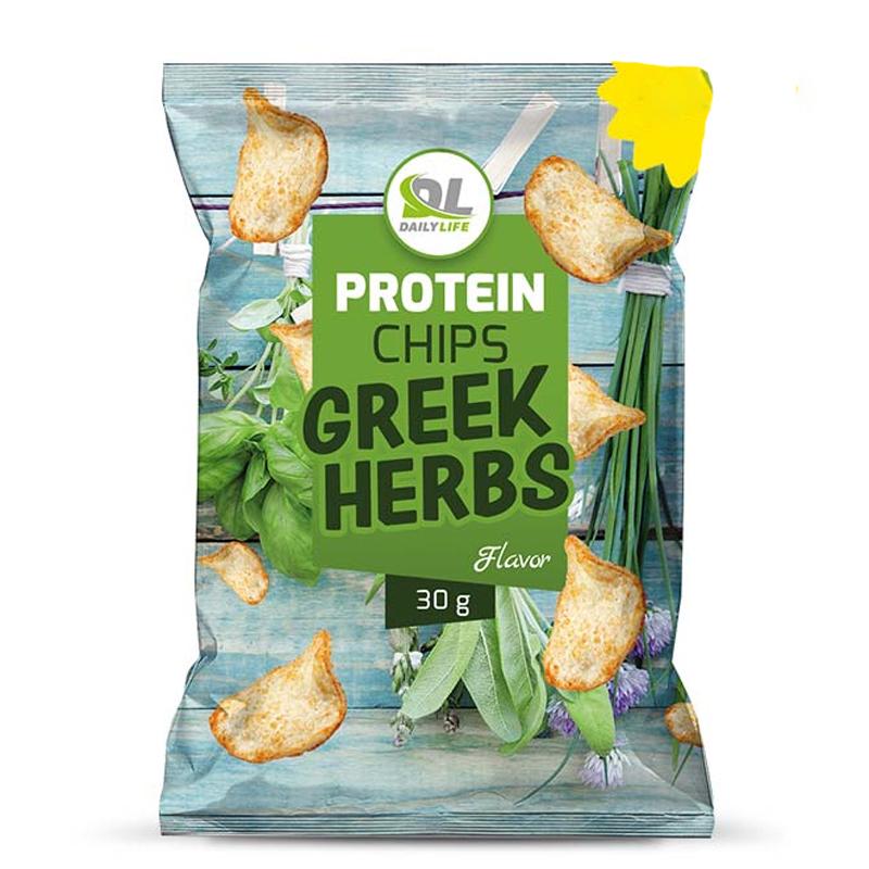 Daily Life Protein Chips Greek Herbs Busta 30 gr - Delizione Patatine Soffiate NON Fritte, 65% di Grassi in Meno