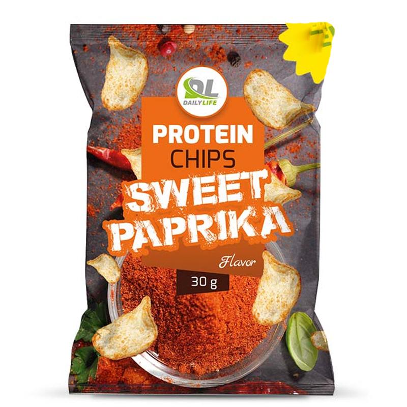 Daily Life Protein Chips Sweet Paprika Busta 30 gr - Delizione Patatine Soffiate NON Fritte, 65% di Grassi in Meno
