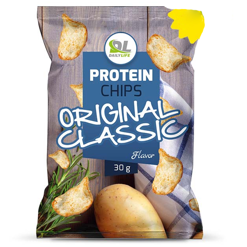 Daily Life Protein Chips Original Classic Busta 30 gr - Delizione Patatine Soffiate NON Fritte, 65% di Grassi in Meno