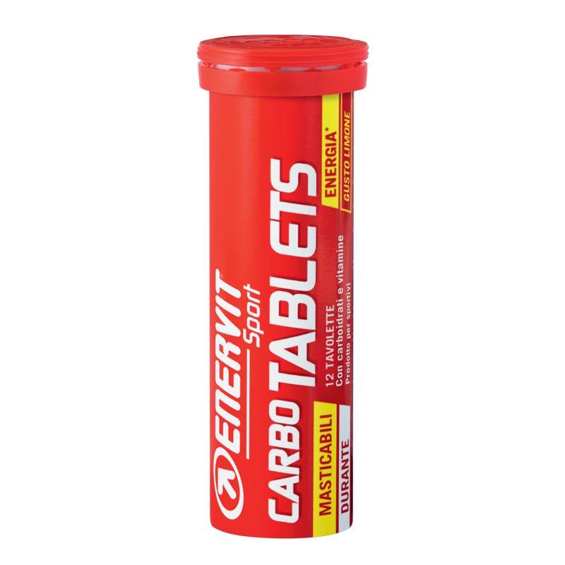Enervit Carbo Tablets, tubetto da 12 tavolette masticabili gusto limone - Energetico a Base di Carboidrati e Vitamine