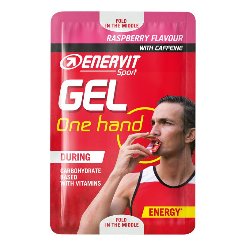 ONE HAND GEL ENERVIT SPORT Gusto Raspberry con Caffeina Easysnap da 12,5 ml - Gel energetico con Carboidrati e Vitamine