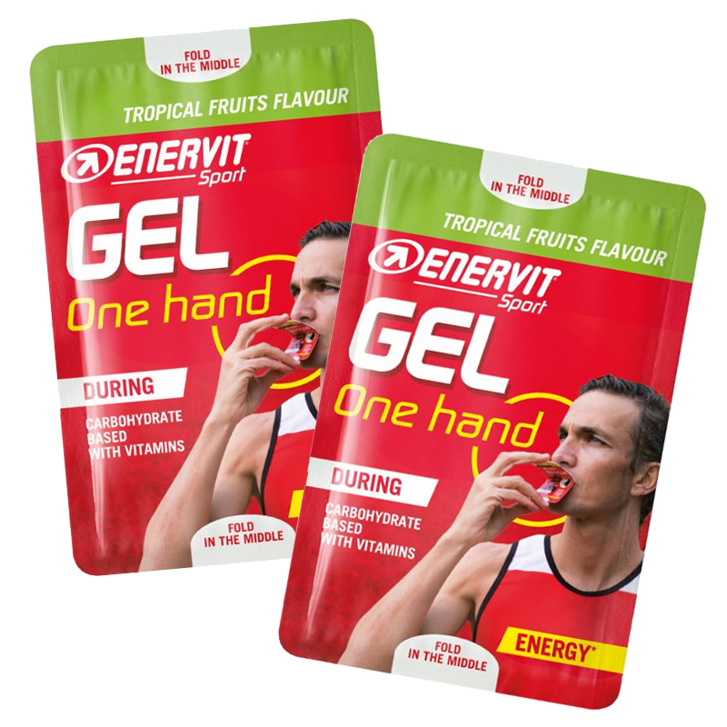 ONE HAND GEL ENERVIT SPORT Frutti Tropicali Confezione 40 Buste da 12,5 ml - Energetico a base di Carboidrati e Vitamine