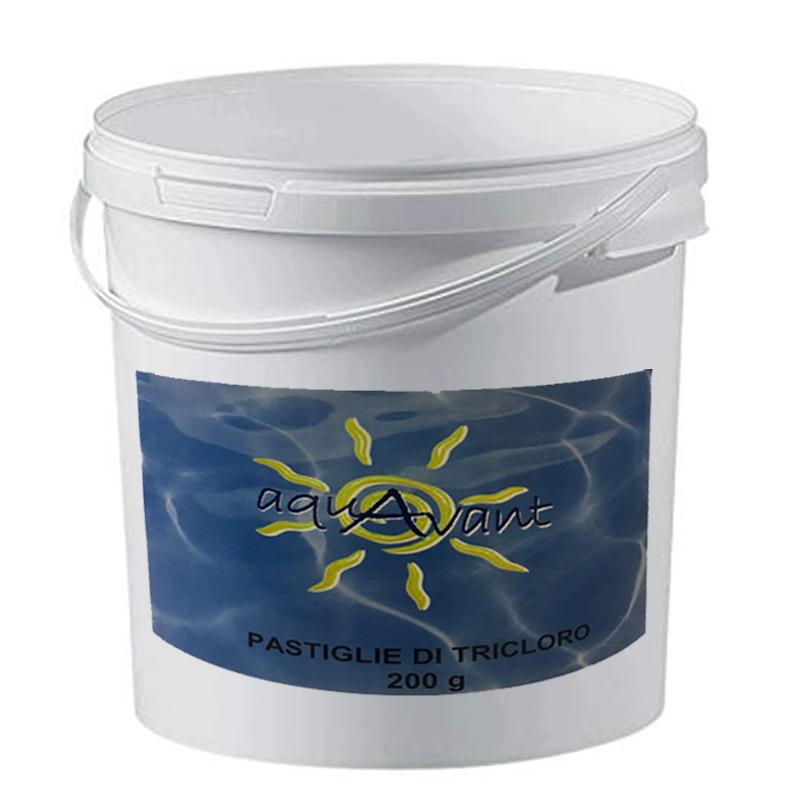 Tricloro Pastiglie Aquavant Secchio da 25 kg - Cloro 90% per piscina in pastiglioni da 200 grammi a lenta dissoluzione