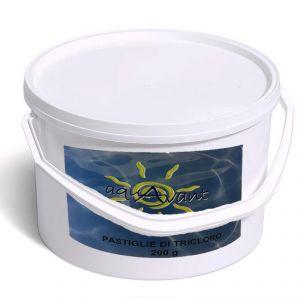 Pastiglie di Tricloro Aquavant Secchio 5 kg - Cloro 90% in pastiglioni da 200 g a lenta dissoluzione per piscina