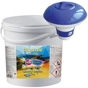 CHLORE LENT AIGA by MAREVA Secchio 10 kg - Cloro 90% a Lenta Dissoluzione in Pastiglie da 250g + Dosatore Galleggiante
